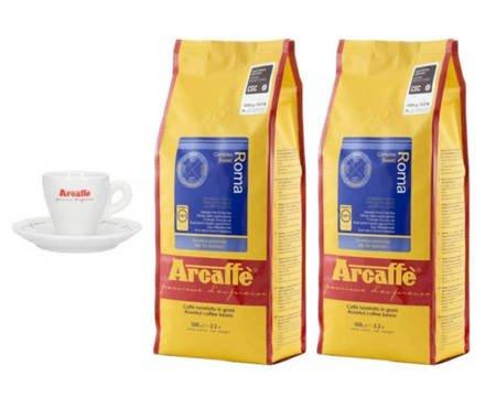 Kawa ziarnista Arcaffe Roma 2x1kg + Porcelanowa filiżanka Arcaffe ze spodkiem do espresso