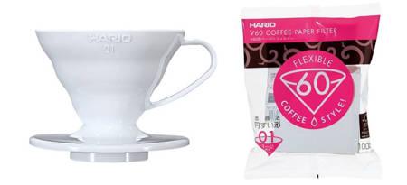 Plastikowy Drip Hario V60-01 Biały + Filtry papierowe do dripa Hario V60-01 100szt