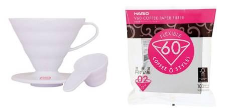 Plastikowy Drip Hario V60-02 - Biały + Filtry papierowe do dripa Hario V60-02 100szt