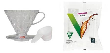 Plastikowy Drip Hario V60-02 - Clear + Filtry papierowe do dripa Hario V60-02 100szt